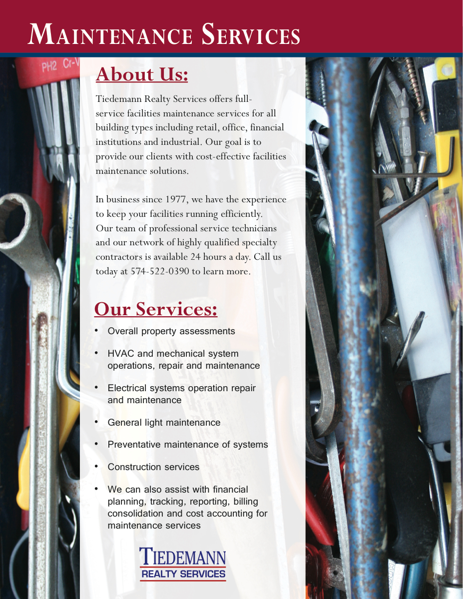 Read more about our Maintenance Services in this brochure.