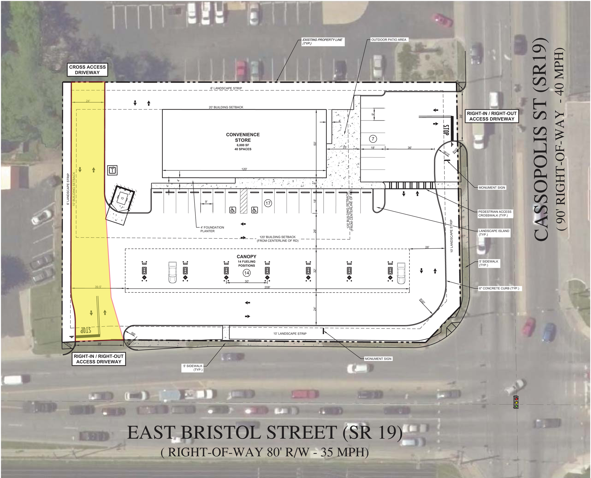 Possible site plan for convenience store located on site.