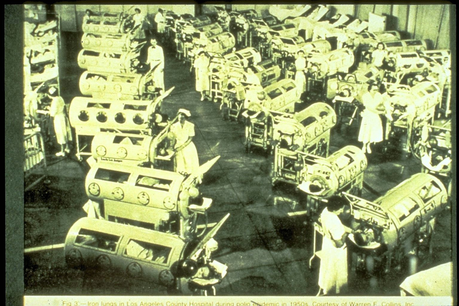 Hospital respiratory ward in Los Angeles, 1952