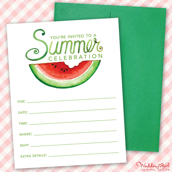 Printable Summer Party Invitation with Watermelon