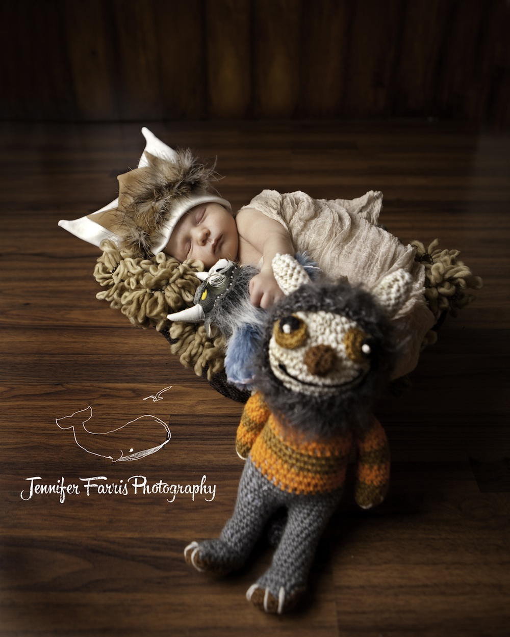 Where the Wild Things Are Themed Newborn Photo Session with Bernard and a crocheted Moishe | Jennifer Farris Photography | as seen on GiggleHearts.com