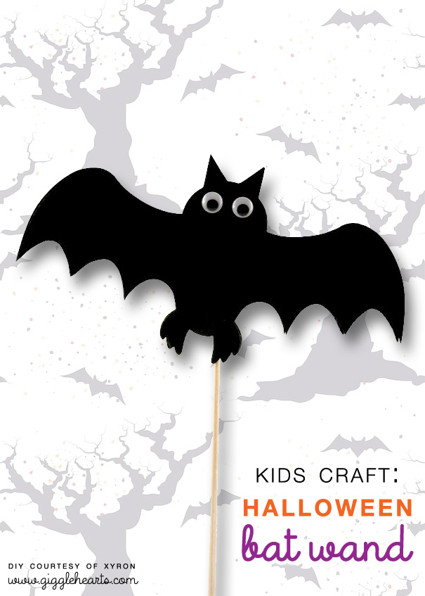 Halloween Bat Wand DIY : a fun kids craft for the holiday | from Xyron as seen on www.gigglehearts.com