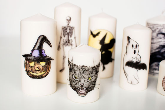 DIY Decorative Halloween Candles with clip art, hand-drawn art or rubber stamps | from Melodrama | as seen on www.gigglehearts.com