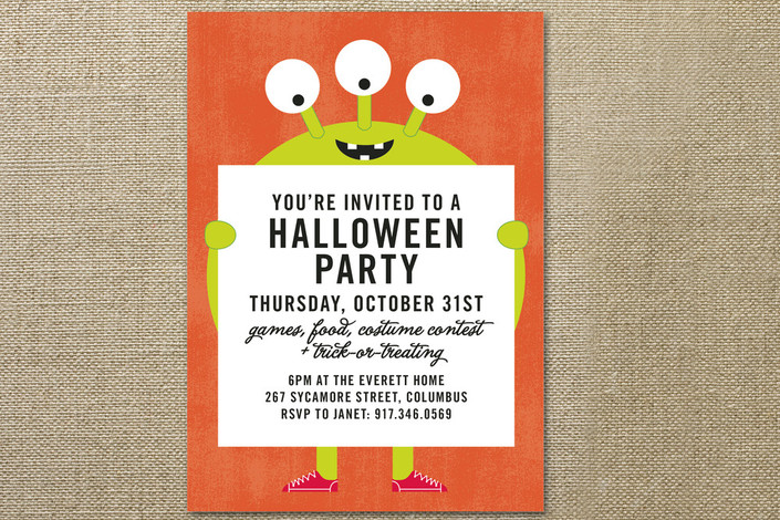 Mr. Monster Holiday Party Invitations | as seen on www.GiggleHearts.com