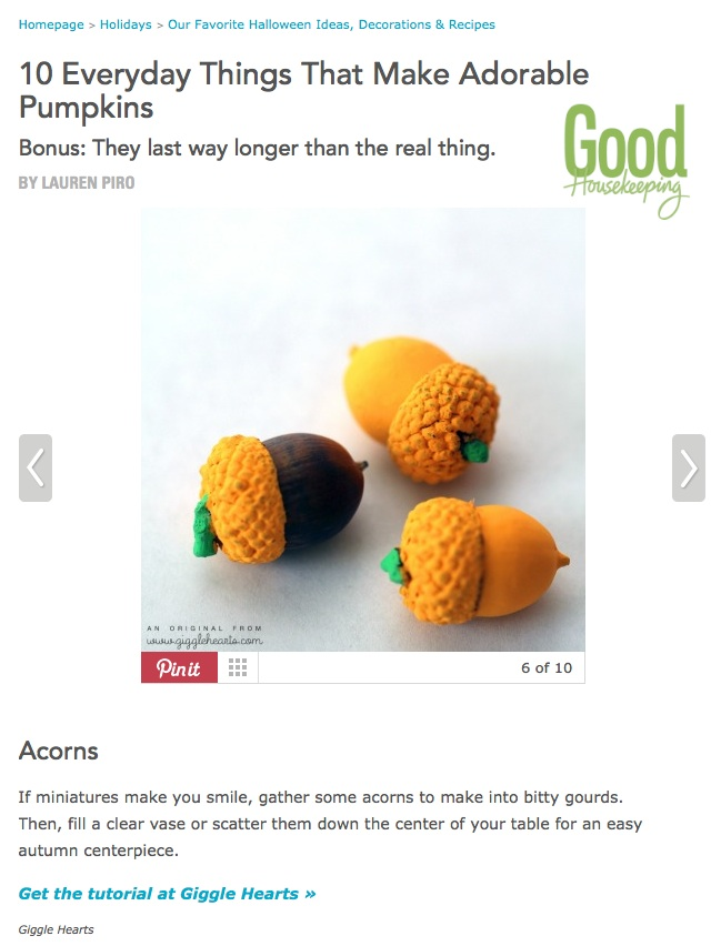 Painted Acorn Pumpkins DIY Fall Craft : from www.GiggleHearts.com - as featured on www.GoodHousekeeping.com