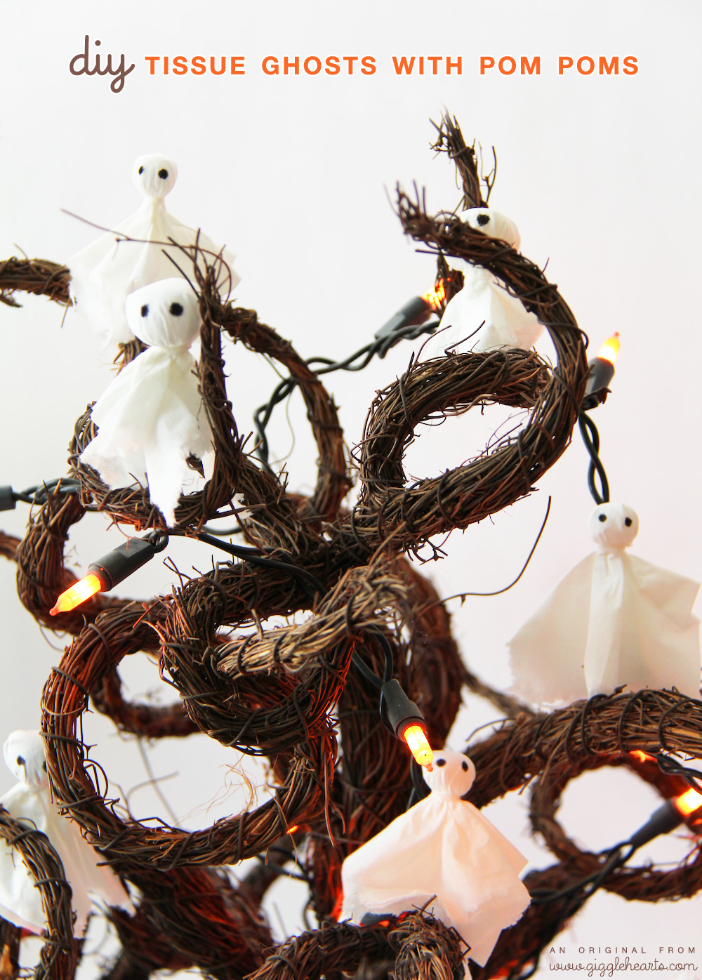 Fun Halloween Craft : DIY Tissue Ghosts with Pom Poms and Hairties / as seen on www.GiggleHearts.com