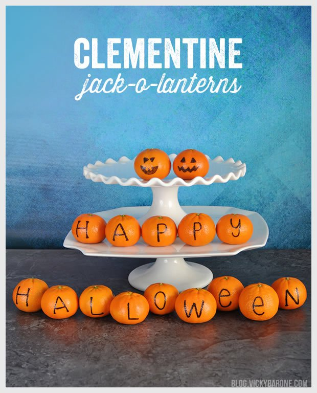 Clementine Jack O'Lanterns   / blog.vickybarone.com - shared on www.GiggleHearts.com