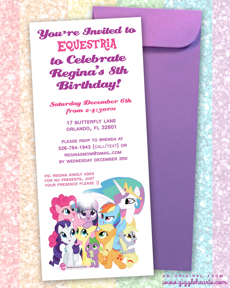 My Little Pony Birthday Invitation | an original from www.GiggleHearts.com