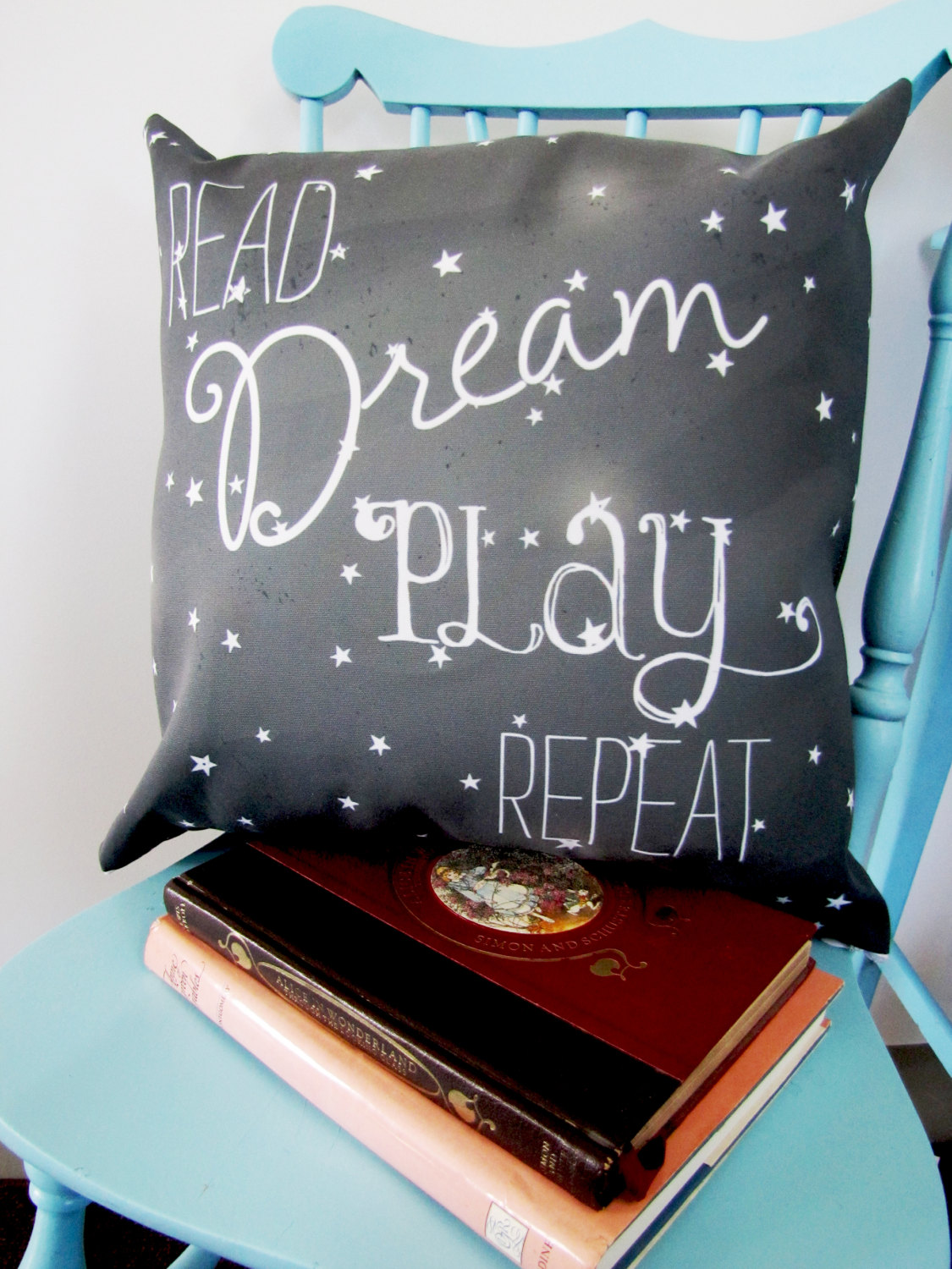 Loving this Read. Dream. Play. Repeat. Pillow from Addie & George on etsy / as seen on www.GiggleHearts.com