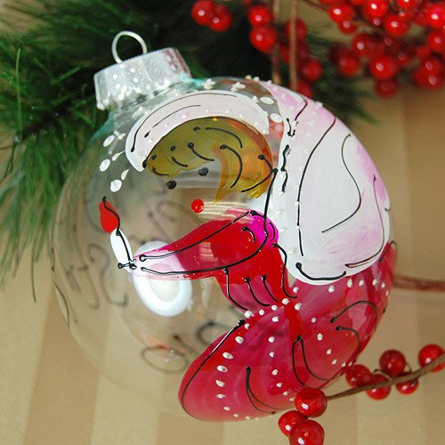 Personalized Hand Painted Angel Glass Ornament / as seen on www.gigglehearts.com