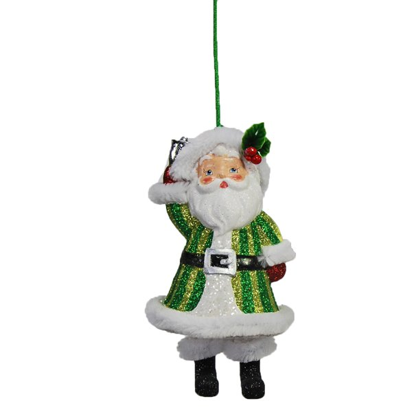 Green Santa Claus with Dangling Legs Ornament / as seen on www.gigglehearts.com