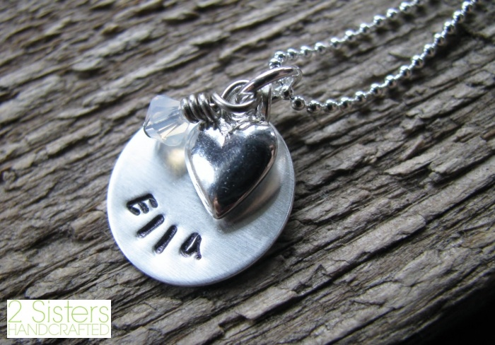 Personalized + Hand Stamped Mommy Necklace with Childs Name and Birthstone from 2 Sisters Handcrafted