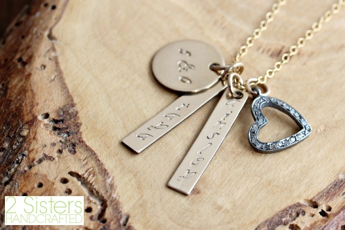 Personalized Gold & Diamond Heart Family Necklace, Hand Stamped from 2 Sisters Handcrafted