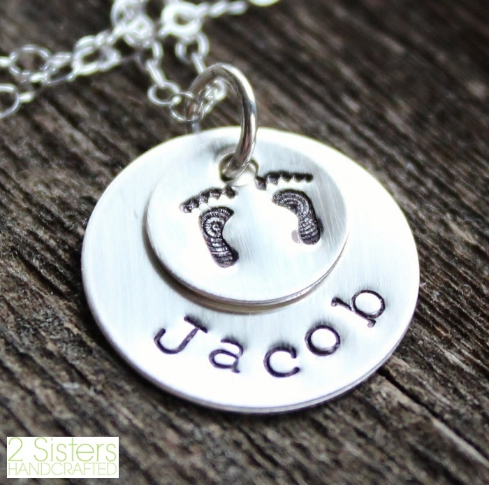 Personalized Mommy Sterling Silver Necklace with Stamped Baby's Feet from 2 Sisters Handcrafted
