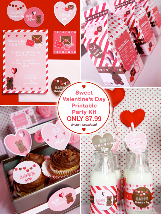 Sweet Valentine's Day Printable Party Kit - download all 11 templates instantly for just $7.99 / as seen on www.GiggleHearts.com