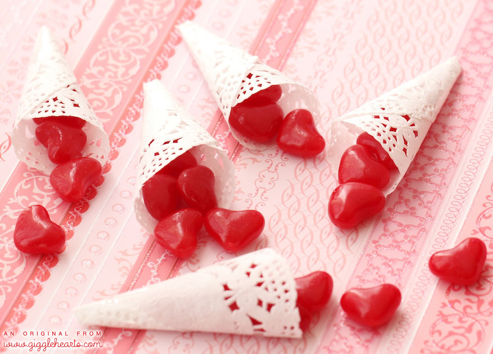 Click to Find out how to make Paper Cones for Valentine's Day and fill with candy hearts or confetti / Valentine's Day Crafts and fun party favors / As seen on Giggle Hearts www.GiggleHearts.com