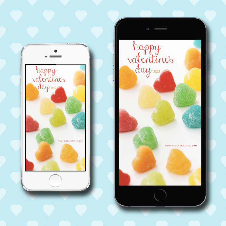 Free Valentine's Day iPhone Wallpaper to Download - for versions 5 and 6 / as seen on www.GiggleHearts.com