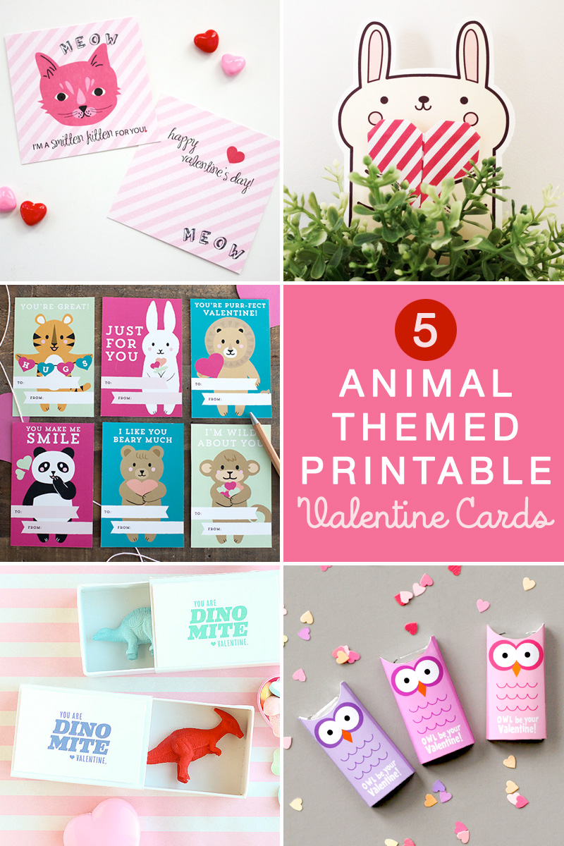 5 of the Cutest Animal Themed Printable Valentine's Day Cards / as seen on www.GiggleHearts.com