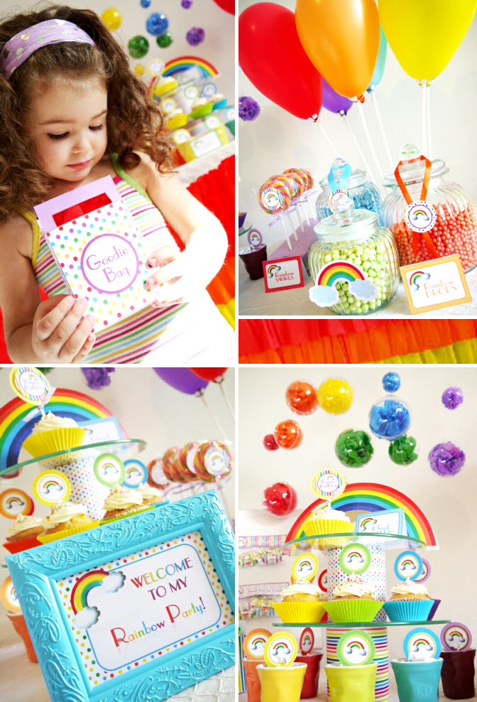 Rainbow Themed Birthday Party Printable Kit - available as an instant download / as seen on www.GiggleHearts.com