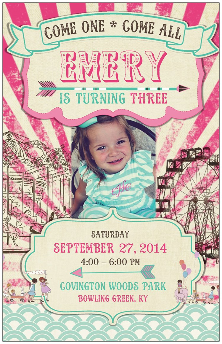 An adorable pink and aqua birthday party invitation with modern and vintage touches / created by EAE Personalized Creations / as seen on www.GiggleHearts.com