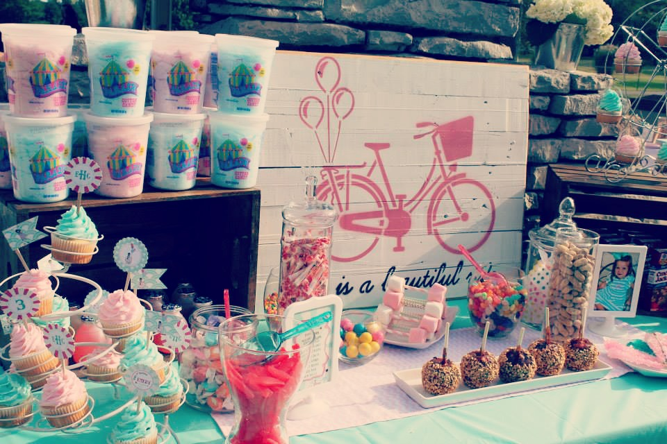 A 3rd birthday party - vintage themed with modern touches - the desserts included cupcakes and cotton candy / created by EAE Personalized Creations / as seen on www.GiggleHearts.com