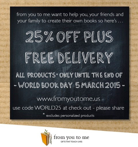 From You To Me is offering 25% off PLUS Free Delivery to celebrate World Book Day - valid only on March 5, 2015 - as seen on www.GiggleHearts.com