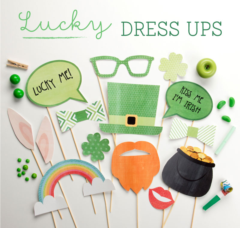 Lucky Dress Ups - Printable Photo Props for St. Patrick's Day from Tiny Me / as seen on www.GiggleHearts.com