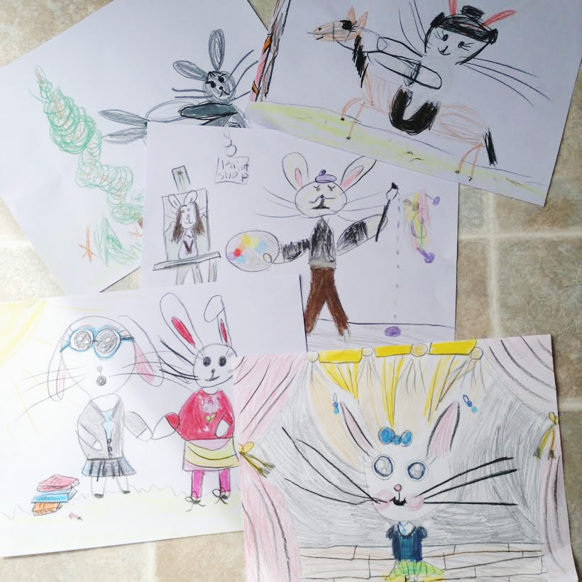 The Cutest Collection of Bunny Artwork {created by an 8 year old} / as seen on www.GiggleHearts.com