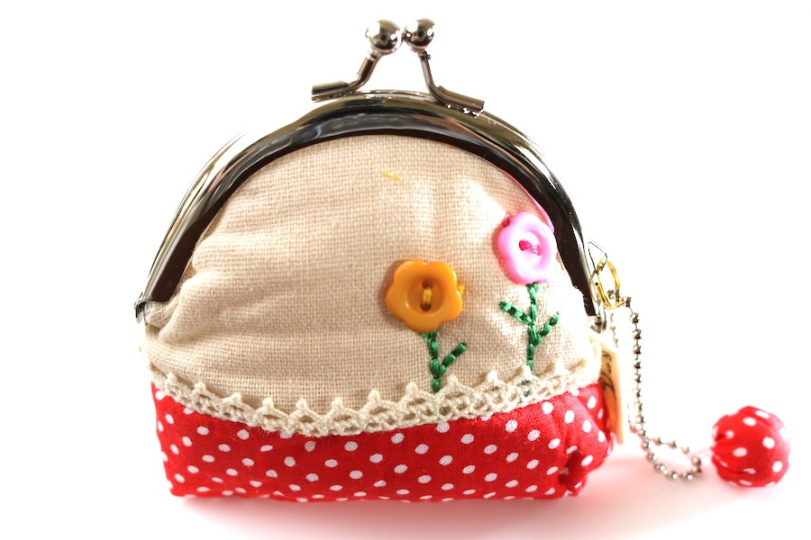 Red and White Polka Dotted Coin Purse with Embroidered Button Flowers