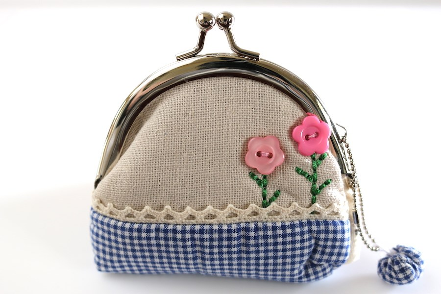 Cute Re-Usable Party Favor Bag : Blue Gingham Coin Purse