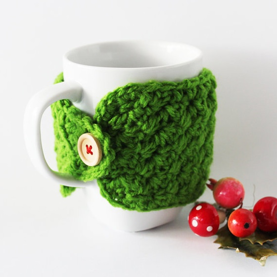 Christmas in July Holiday Themed Green Crocheted Cozy for Coffee and Tea Mugs