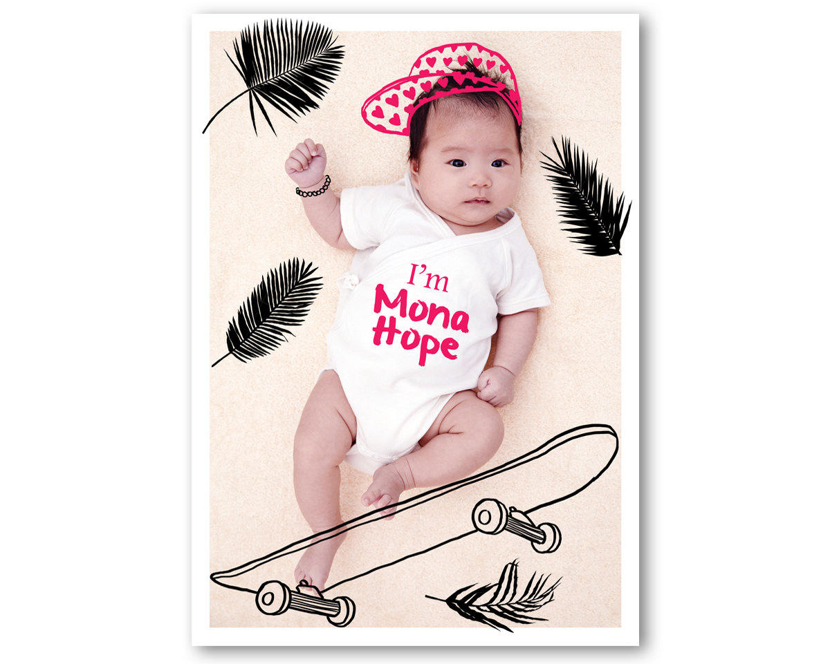 Sweet Birth Announcement with a Digital Drawing on your Favorite Baby Photo - this one . . . skateboarding chick