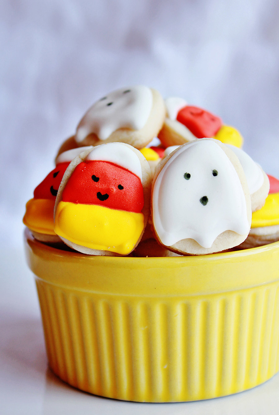 Mini Halloween Cookies : super sweet candy corn and ghosts from Crafted Cookies