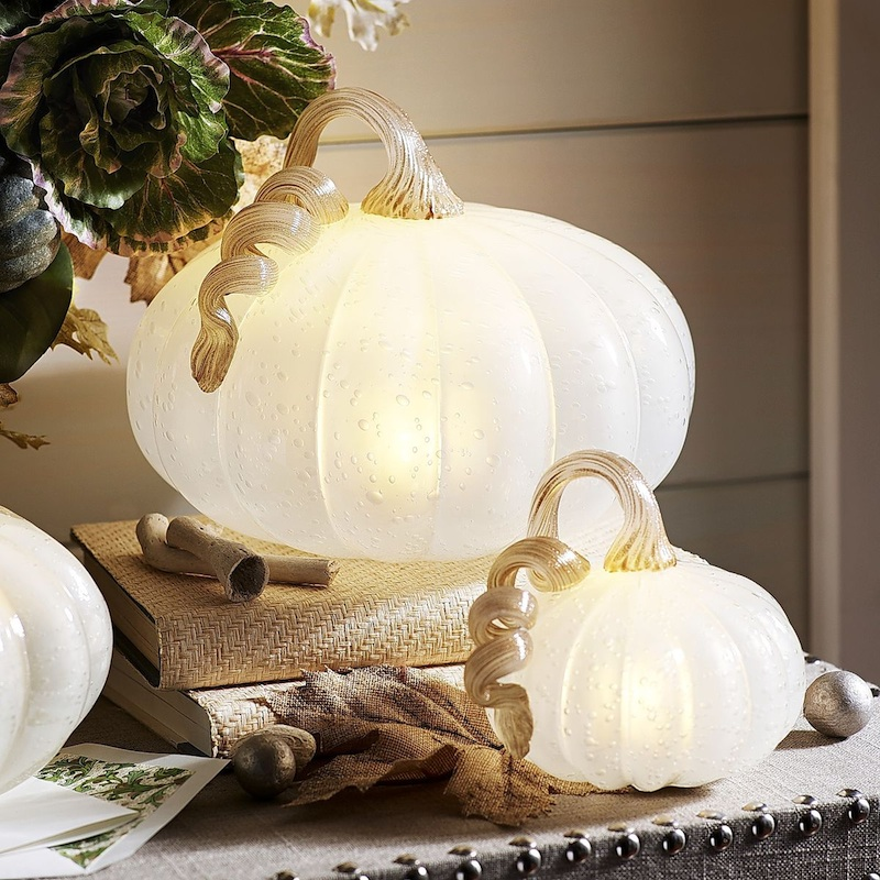 Enchanting White LED Pumpkins - perfect for Cinderella themed parties along with Halloween and Fall Decorating