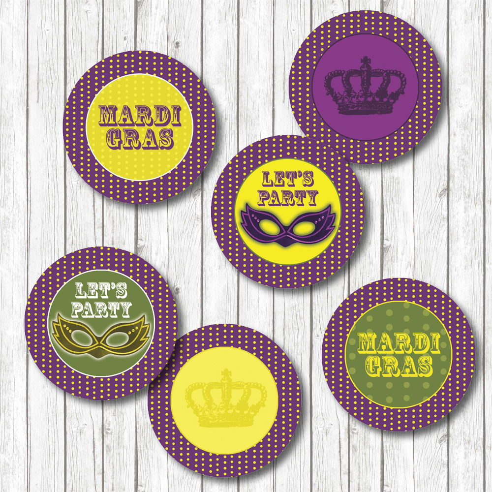 Mardi Gras DIY Cupcake Toppers, Straw Toppers or Favor Tags