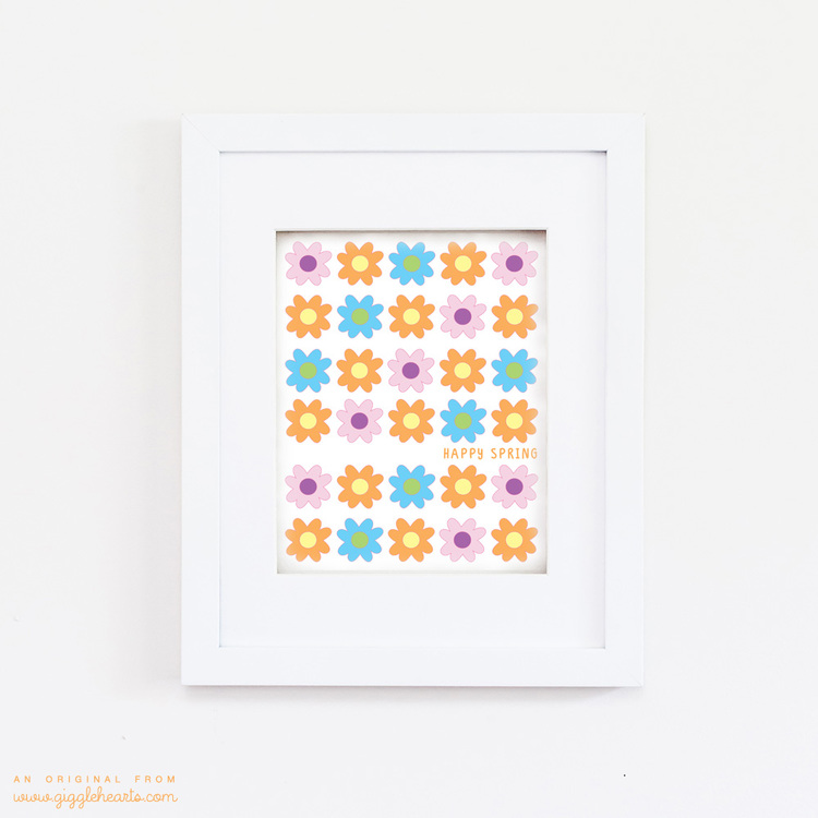 "Cute Floral ""Happy Spring"" Free Printable from GiggleHearts.com"