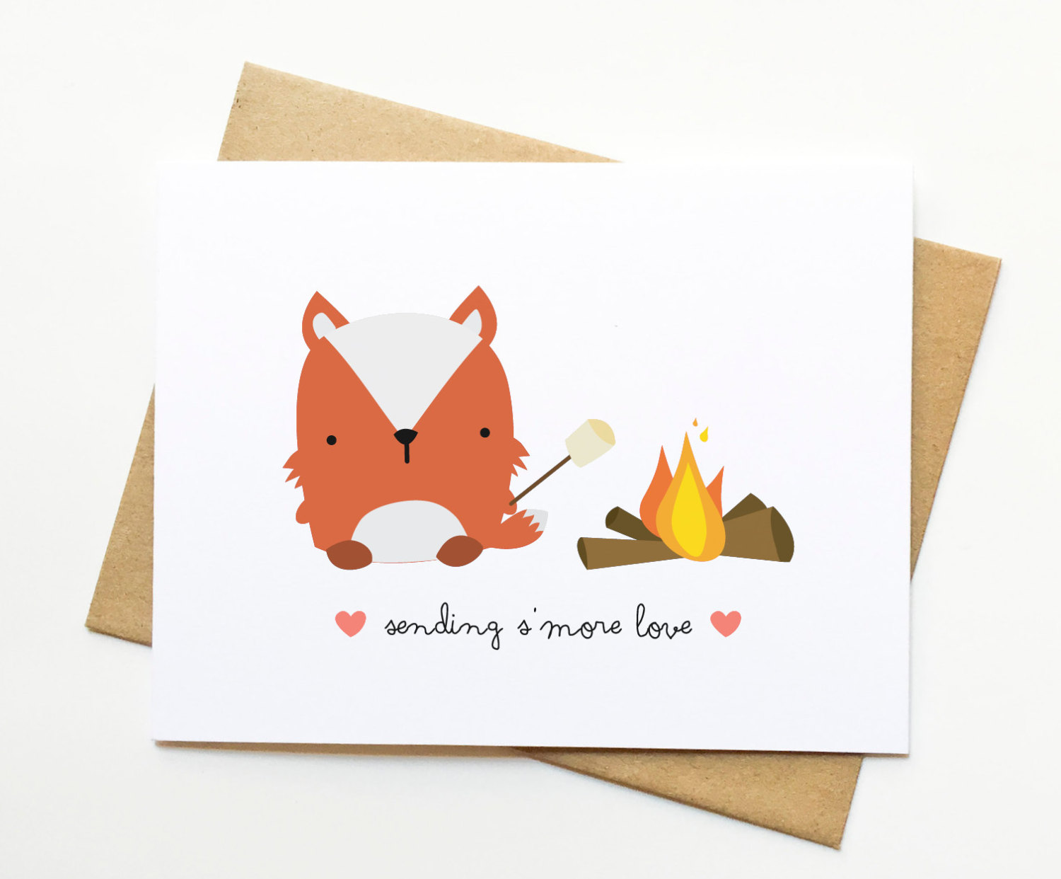 "Sweet Fox Greeting Card that says ""Sending S'more Love"""