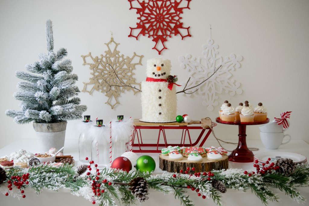 Let it Snow Dessert Table Display | Click to See How to Create the Ultimate Holiday Party display for your sweets on www.GiggleHearts.com