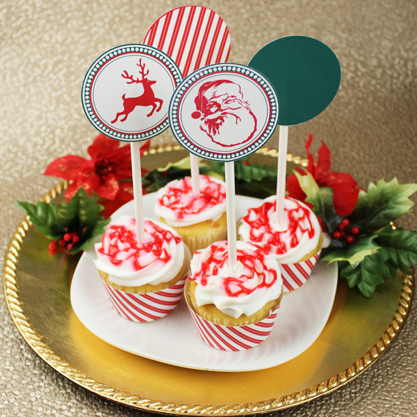 Click to Download your Free Reindeer & Santa Cupcake Toppers