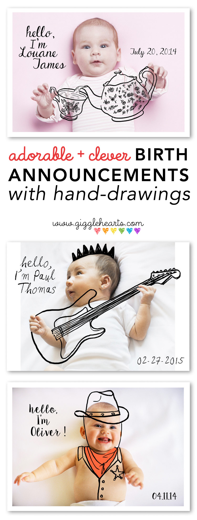 Announce your New Baby in an Original Way with these Adorable + Clever Birth Announcements with Hand-Drawings / as shared on GiggleHearts.com