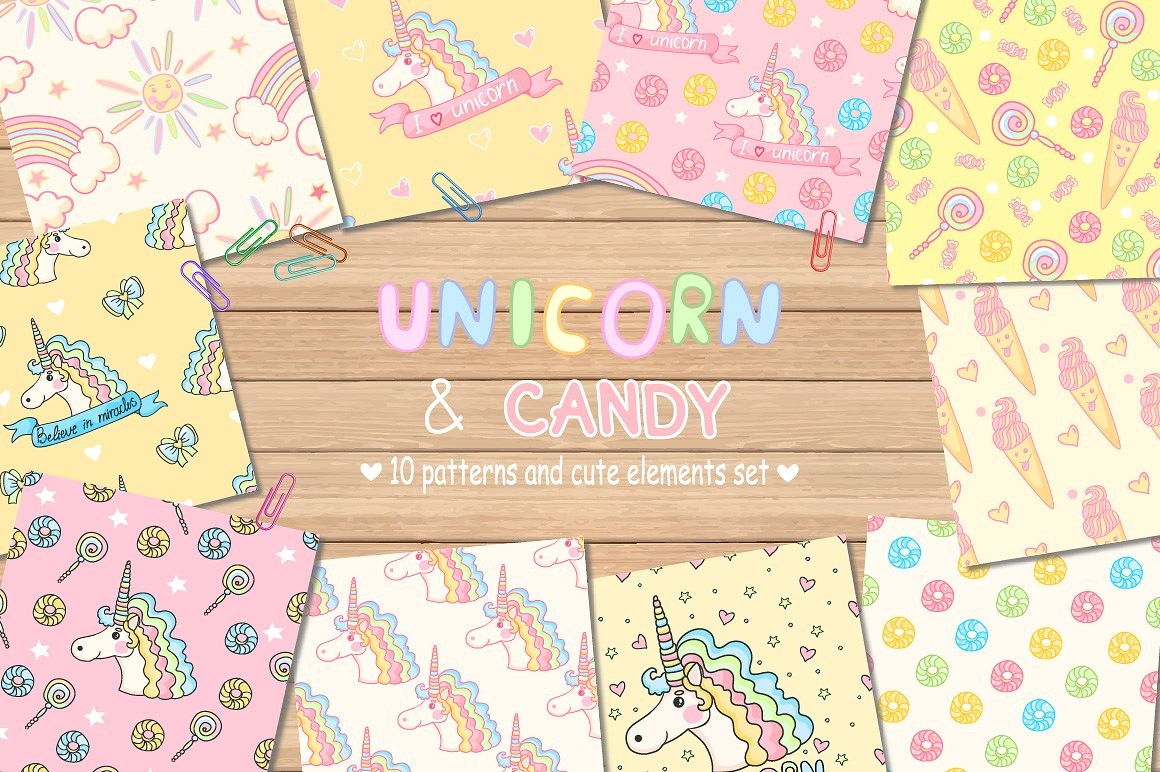 Unicorn and Candy Illustrated  Collection | Unicorn Illustrations | Clip Art for DIY Birthday Cards