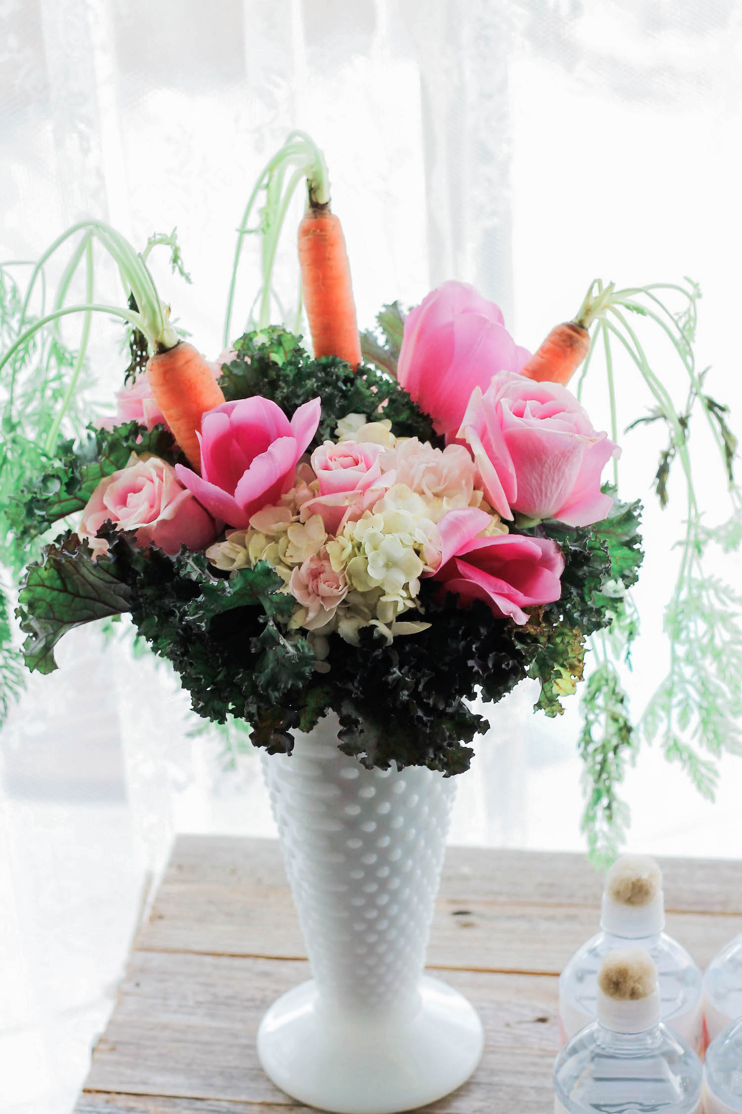Organic Floral Arrangement with Carrots, Roses, Hydrangeas, and Kale — Some Bunny Spring Birthday Party — Pretty Easter Flowers . . . click to see more on www.GiggleHearts.com