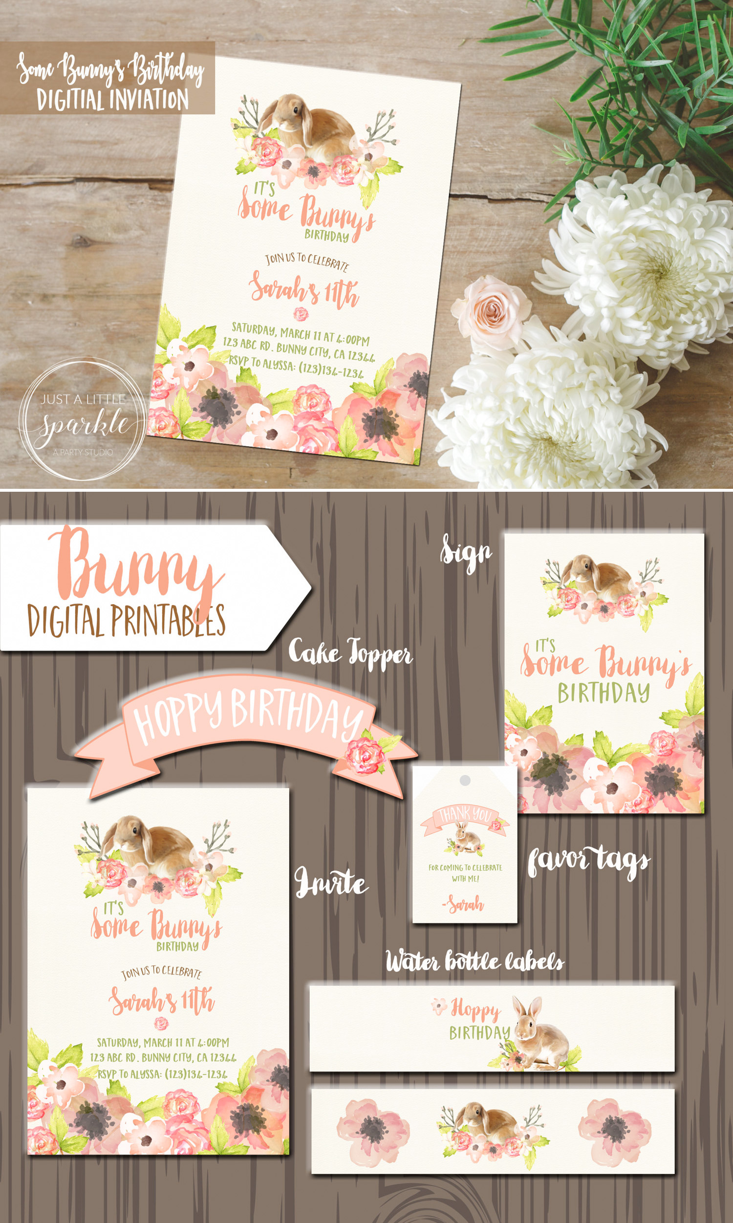Some Bunny's Birthday Digital Invitation and Bunny Digital Printables for Spring Parties and Easter Celebrations / from Just a Little Sparkle / as seen on www.GiggleHearts.com
