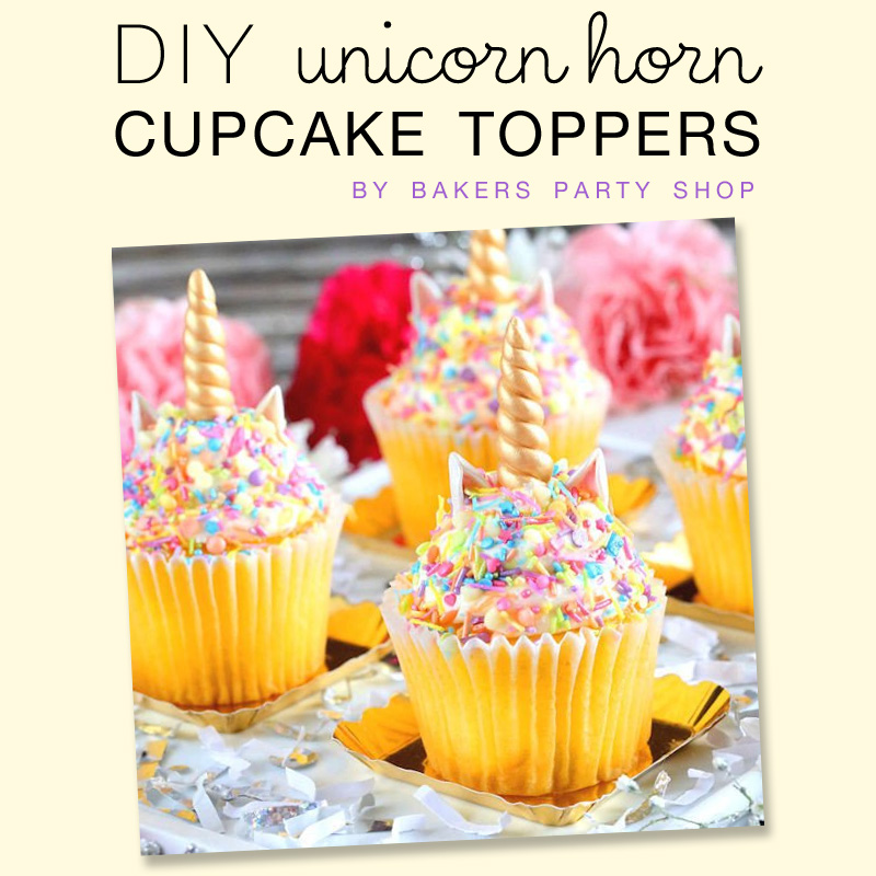 DIY Unicorn Horn Cupcake Toppers - find out how to create these unicorn horns with fondant and edible paint from The Bakers Party Shop - see more on www.GiggleHearts.com