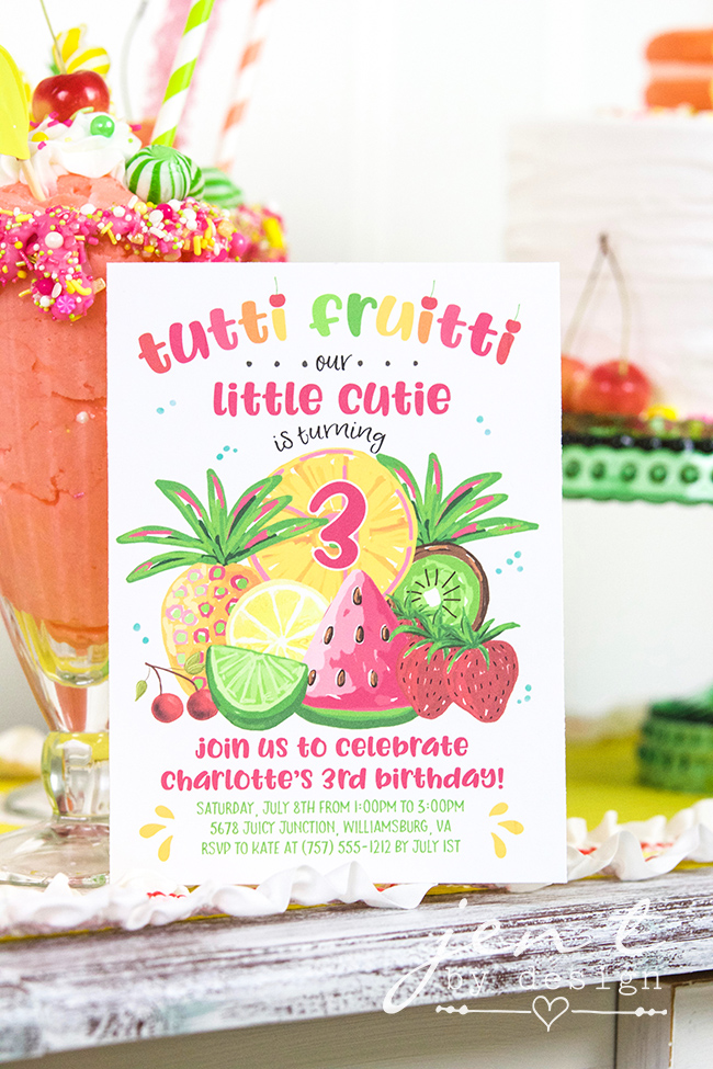 Colorful Tutti Fruitti Party Ideas / Tutti Fruitti Birthday Party Invitation / from Jen T by design / as seen on www.GiggleHearts.com