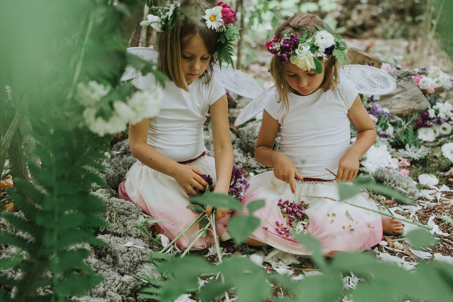 Woodland Fairy Birthday Party Inspiration - let the girls frolic in the woods in search of fairies and ferns. Pretty floral crowns are a must-have for a fairy themed birthday celebration. Photo by Amy Donohue Photography / Floral design by Birds of a Flower / as seen on Giggle Hearts www.gigglehearts.com