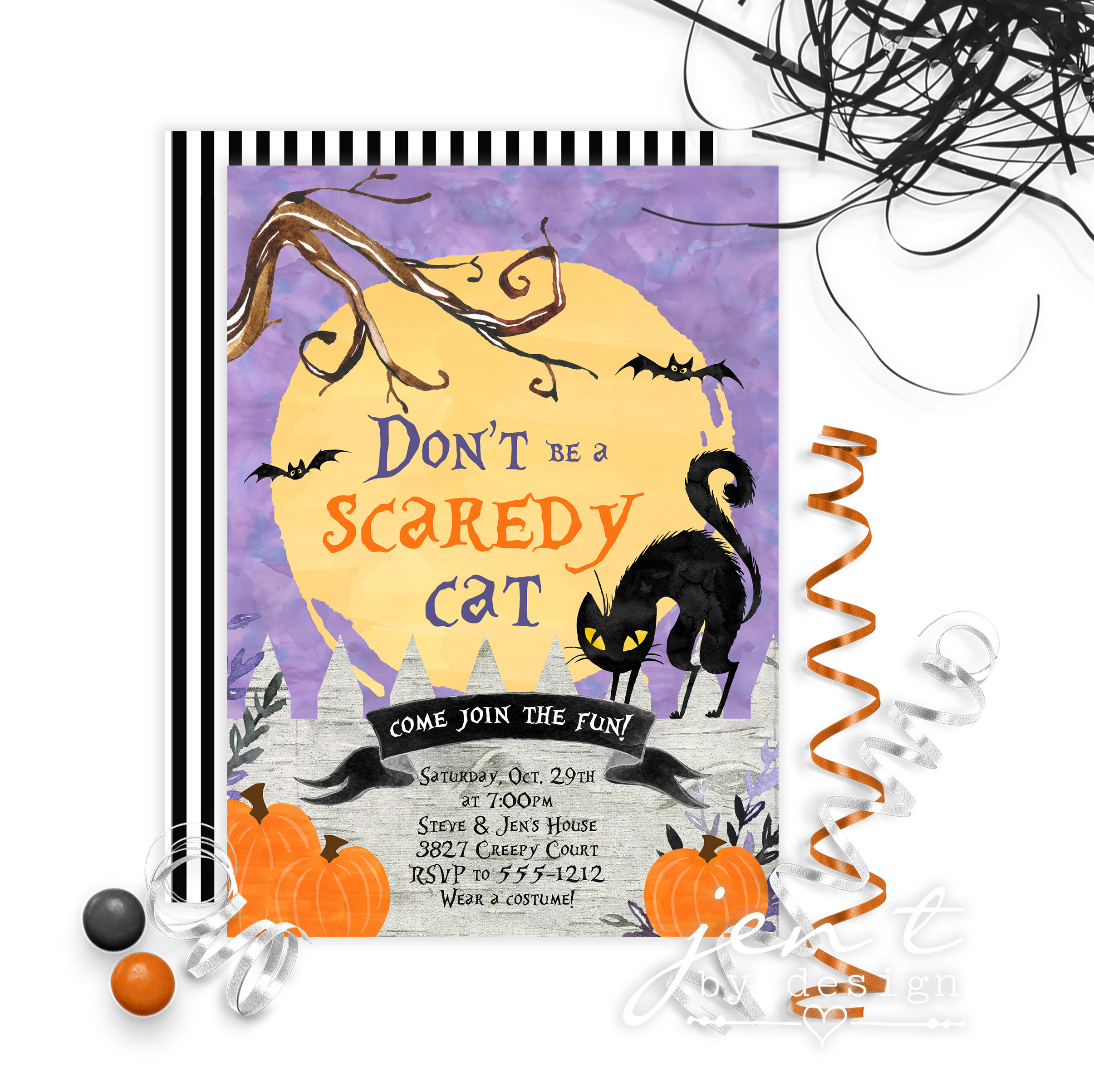 Don't be a scaredy cat halloween party invitation from Jen T by Design / from Halloween Party Invitations that Guest Will Love / Halloween Party Printables / Printable Halloween Invitations / as seen on Giggle Hearts www.gigglehearts.com
