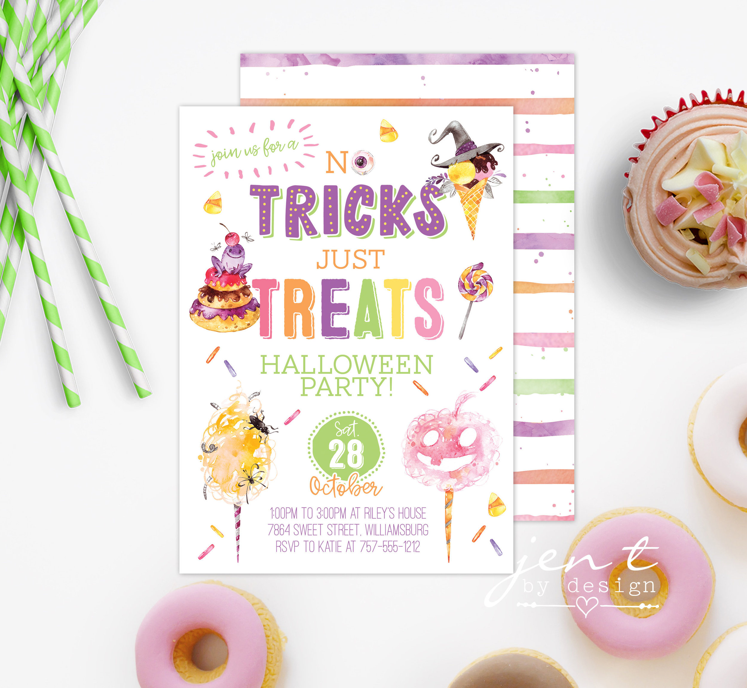 No Tricks Just Treats halloween party invitation from Jen T by Design / from Halloween Party Invitations that Guest Will Love / Halloween Party Printables / Printable Halloween Invitations / as seen on Giggle Hearts www.gigglehearts.com