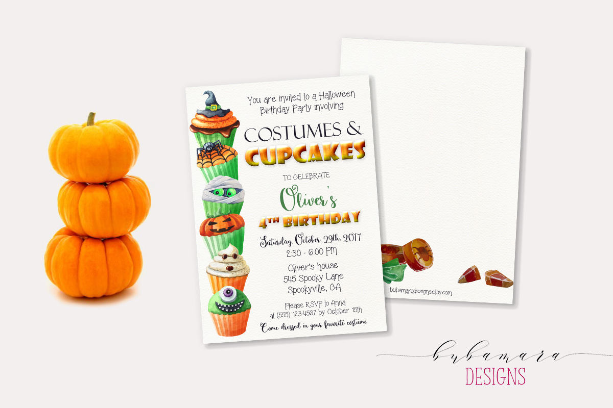 Cupcakes and Costumes Halloween party invitation from Bubamara Designs / from Halloween Party Invitations that Guest Will Love / Halloween Party Printables / Printable Halloween Invitations / as seen on Giggle Hearts www.gigglehearts.com