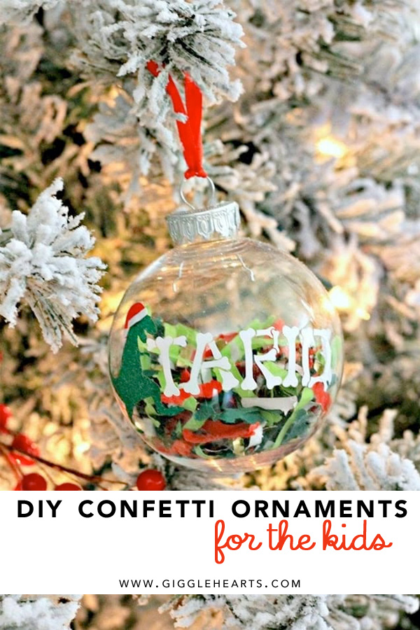 Your boys will squeal with delight having their very own Dinosaur Christmas Ornament like this one. It's a DIY confetti ornament filled with Festive Fetti. Click to see how to create your very own personalized ornaments for your kids on Christmas. As seen on Giggle Hearts www.gigglehearts.com